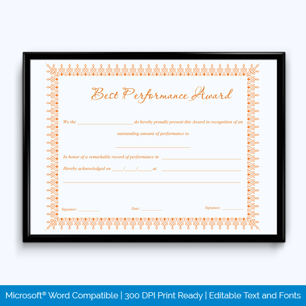 Best performance certificate templates 35 design formats award certificate template for best performance yadclub Image collections