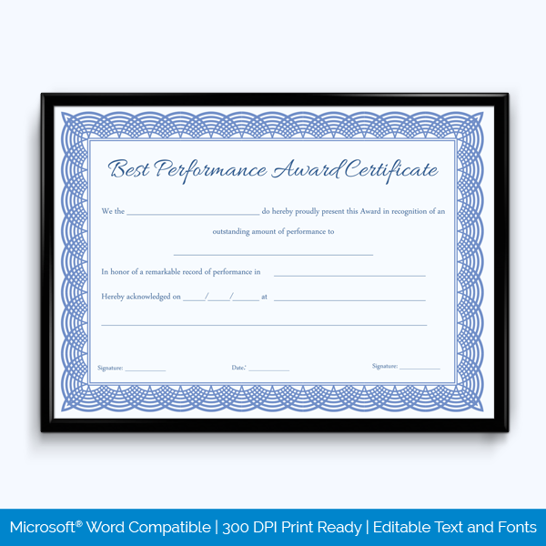 award of best performance template free