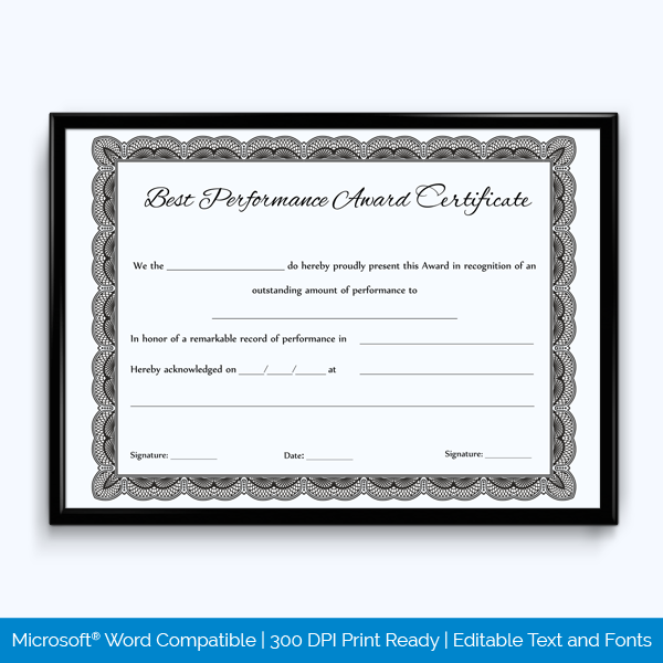 certificate of best performance template download