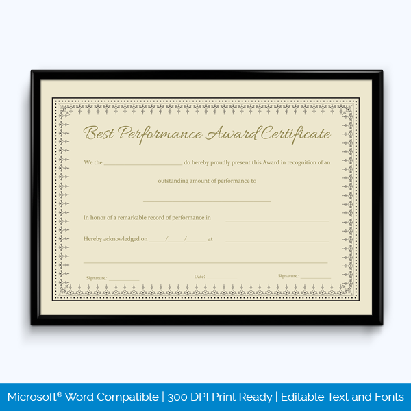 best performance award certificate template