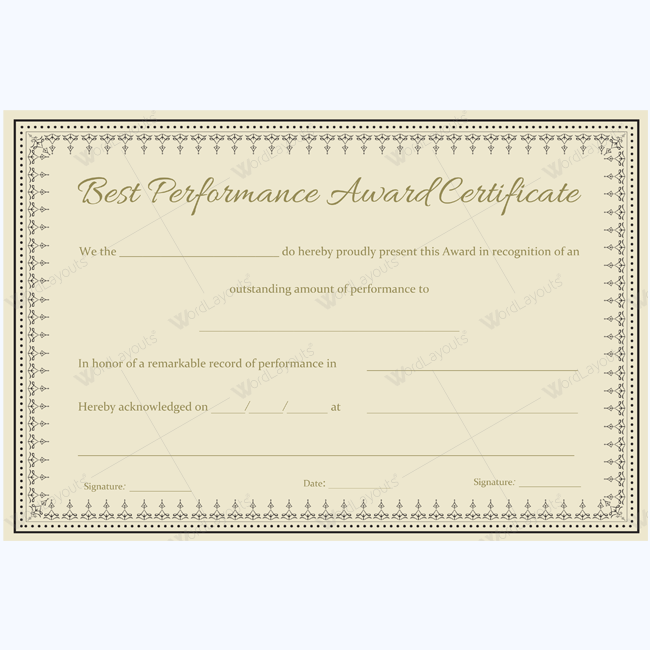 Best performance award certificate 06 - Word Layouts