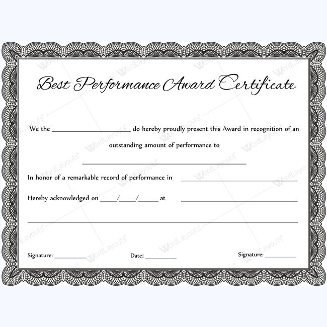 best performance award certificate 03