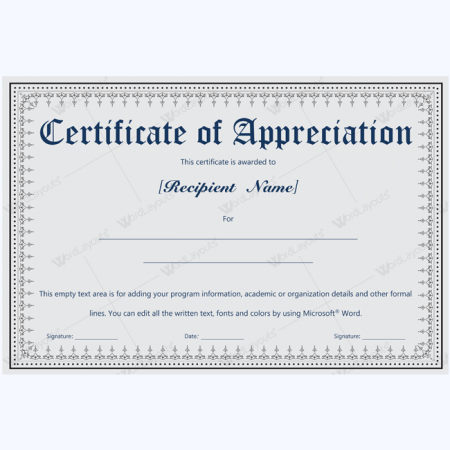 appreciation certificate template for employee - certificate of appreciation templates 99 printable designs