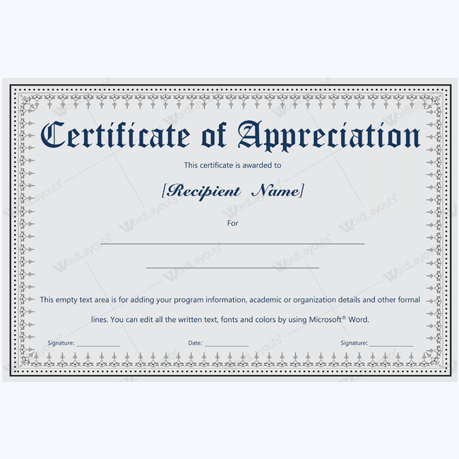 Appreciation certificate template microsoft word certificate of appreciation for retiring employee yadclub Image collections