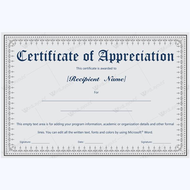 Sample certificate of appreciation for retiree images appreciation certificate template microsoft word certificate of appreciation for retiring employee yadclub images yadclub Images