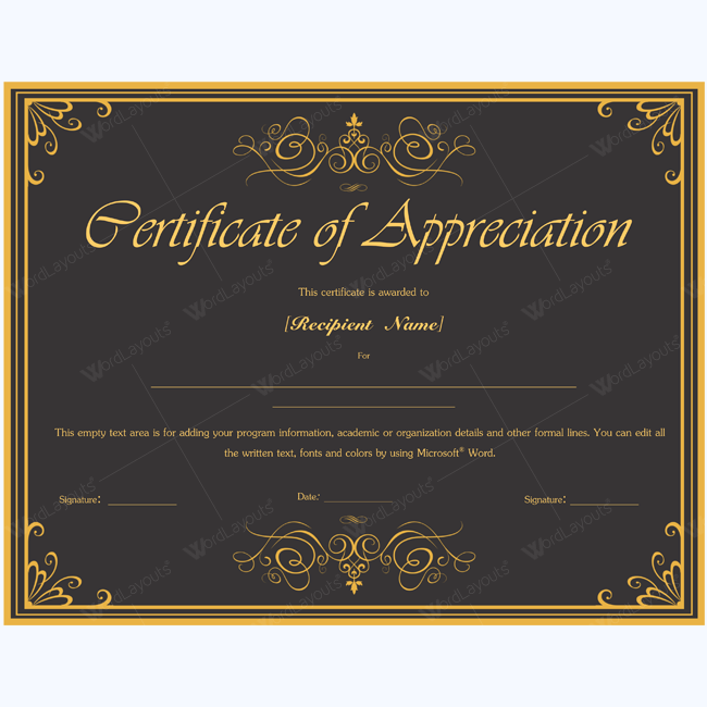 Award Certificate Templates Award of Honor Certificates Best ...