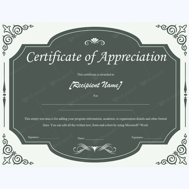 certificate of appreciation template word - certificate of appreciation 05 word layouts