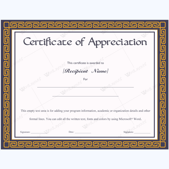 template for certificate of appreciation in microsoft word - certificate of appreciation 08 word layouts