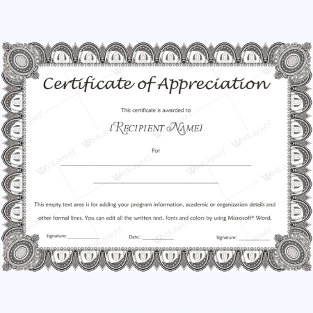Certification Of Appreciation Wording Appreciation Certificates – Certificate of Appreciation Wording Examples