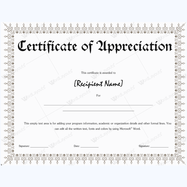 fillable certificate of appreciation