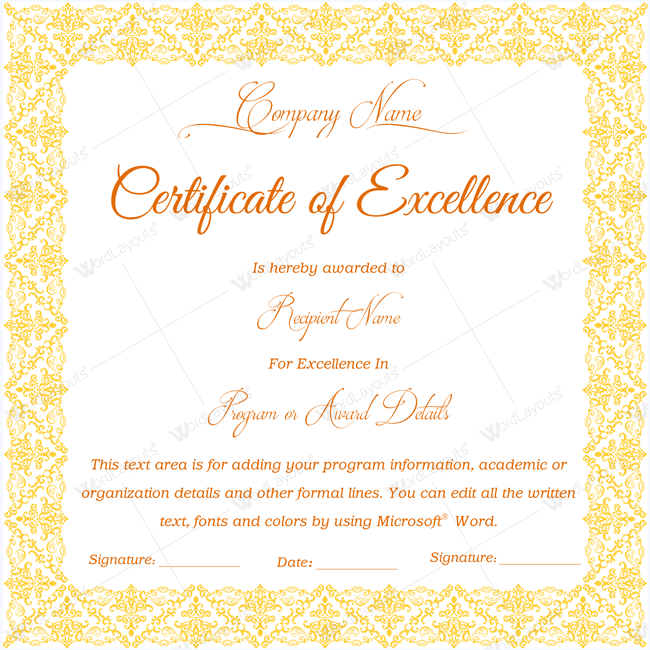 Certificate Of Excellence 03 - Word Layouts