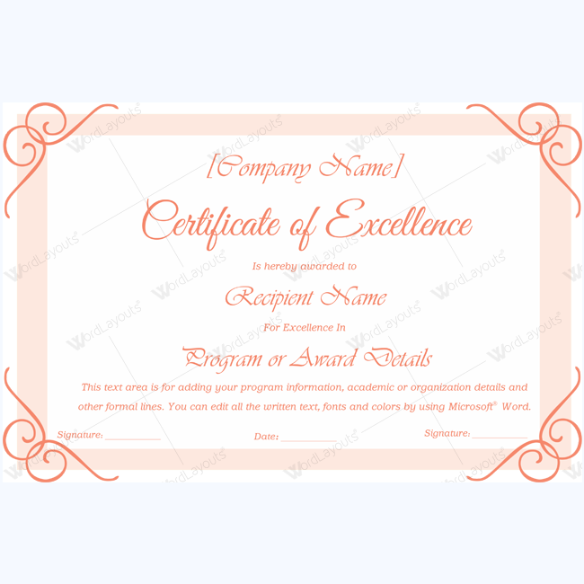 Excellence award certificate template word award certificate templates certificate of appreciation templates yadclub Image collections