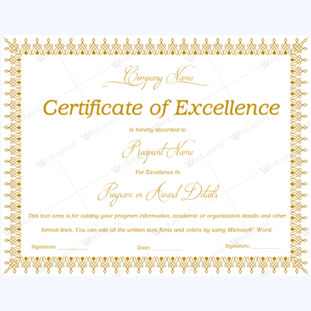 Certificate Of Excellence Template  Microsoft Certificate Of Excellence