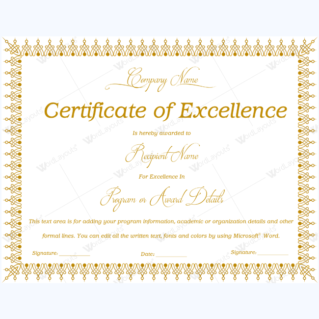 Certificate of excellence 06 word layouts for Certificate of excellence template