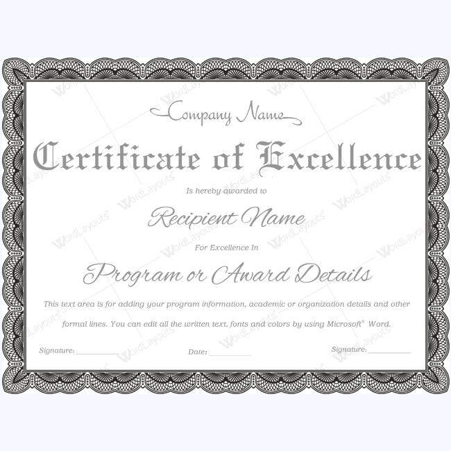 Certificate of excellence 08 word layouts for Certificate of excellence template
