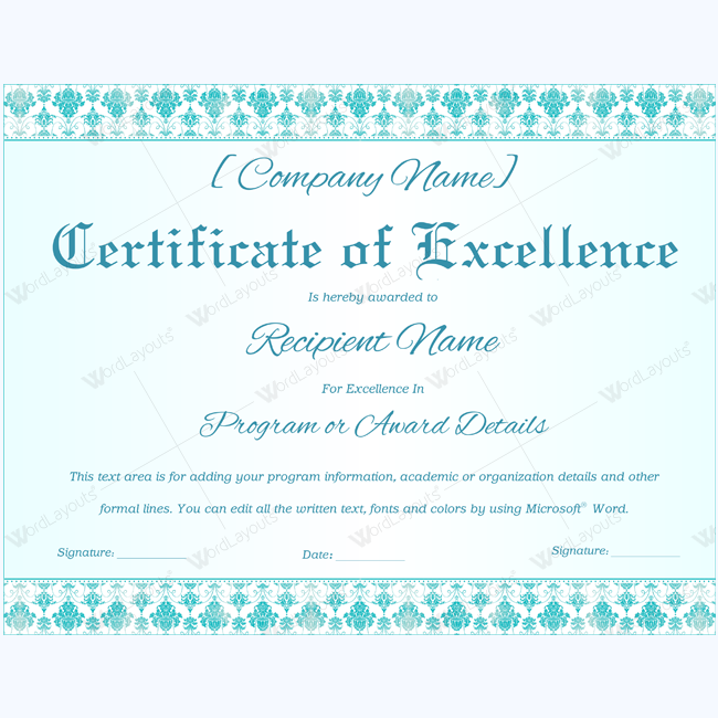 certificate of excellence wording