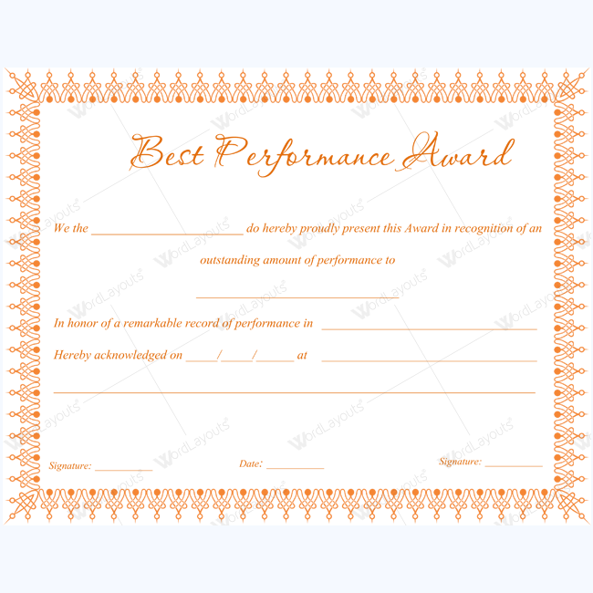 best performance award certificate 01 word layouts