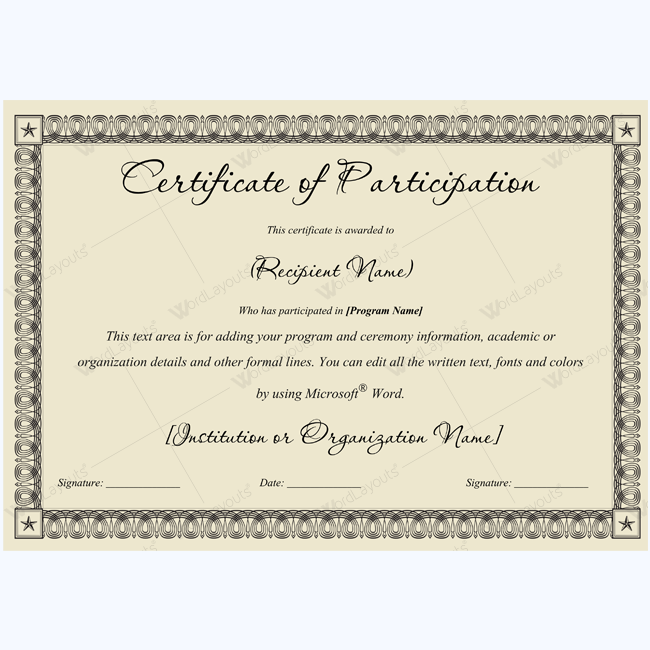 Years Of Service Award Template: Certificate Of Participation 12