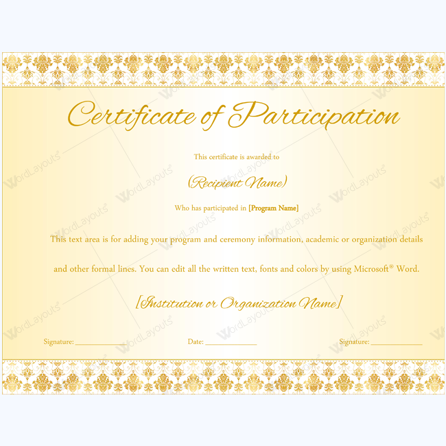certificate template word 2016 - certificate of participation 05 word layouts