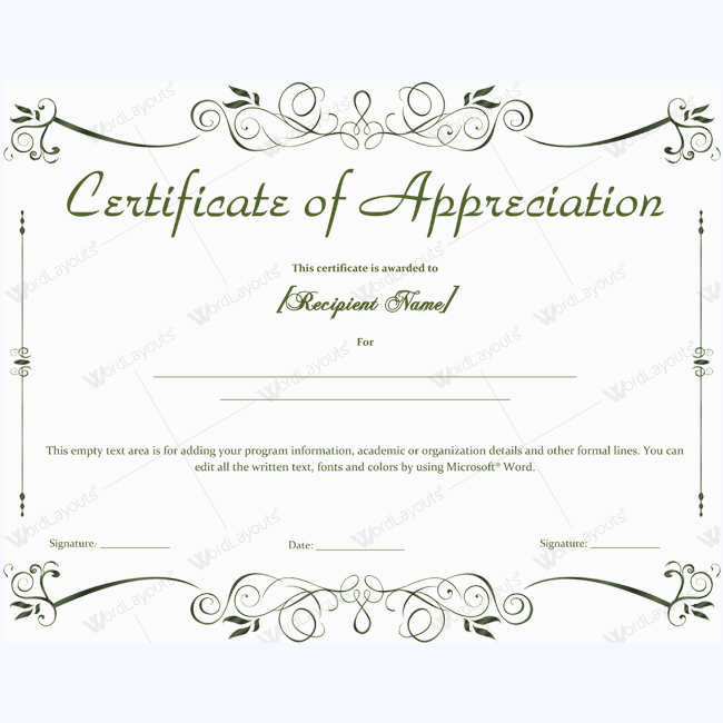 Certificate Of Appreciation 04 Word Layouts