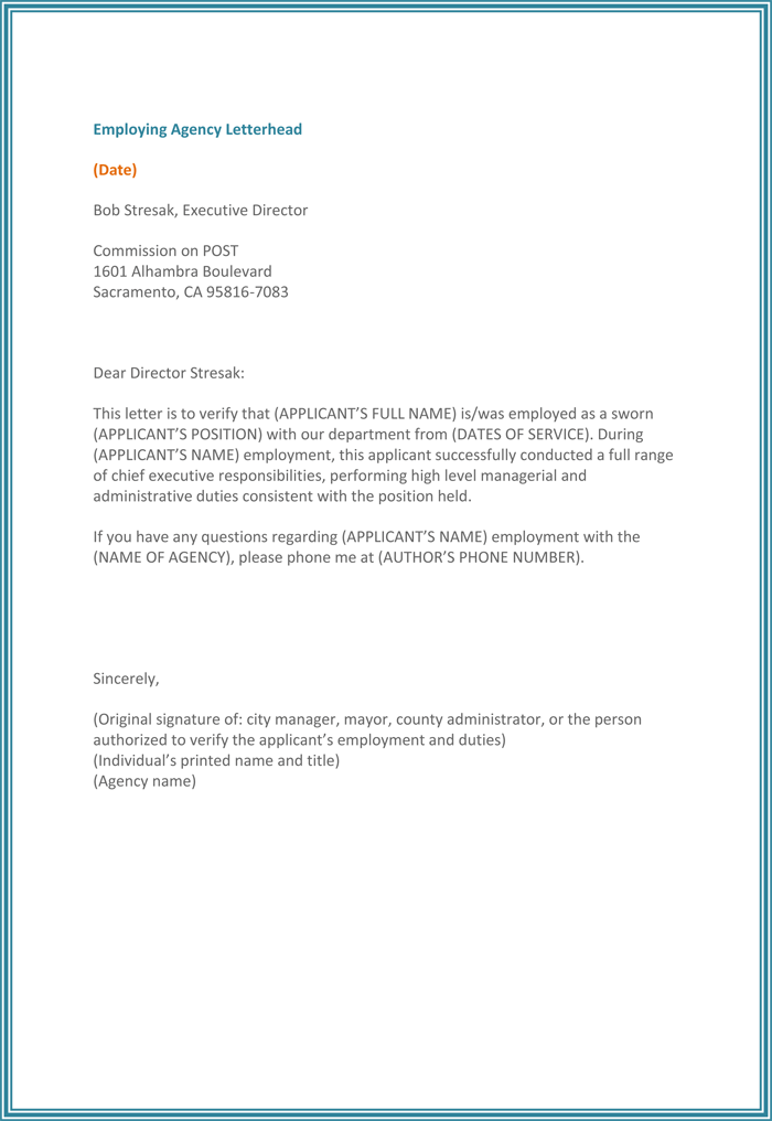 Employment Verification Letter For Word  Previous Employment Verification Letter