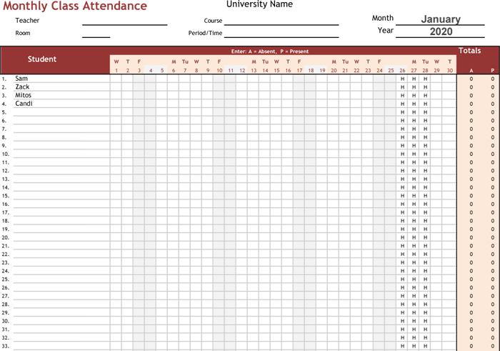 Doc585650 Sample Attendance Tracking Attendance Tracking – Sample Attendance Tracking