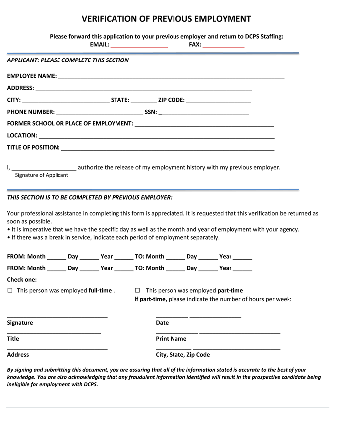 Past Employment Verification Form Template  Previous Employment Verification Letter