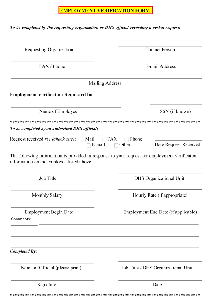Exceptional Sample Employment Verification Form
