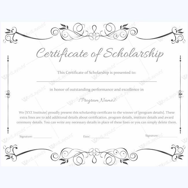 certificate of scholarship 02 word layouts