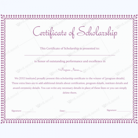 Certificate of scholarship 05 word layouts for Scholarship guidelines template