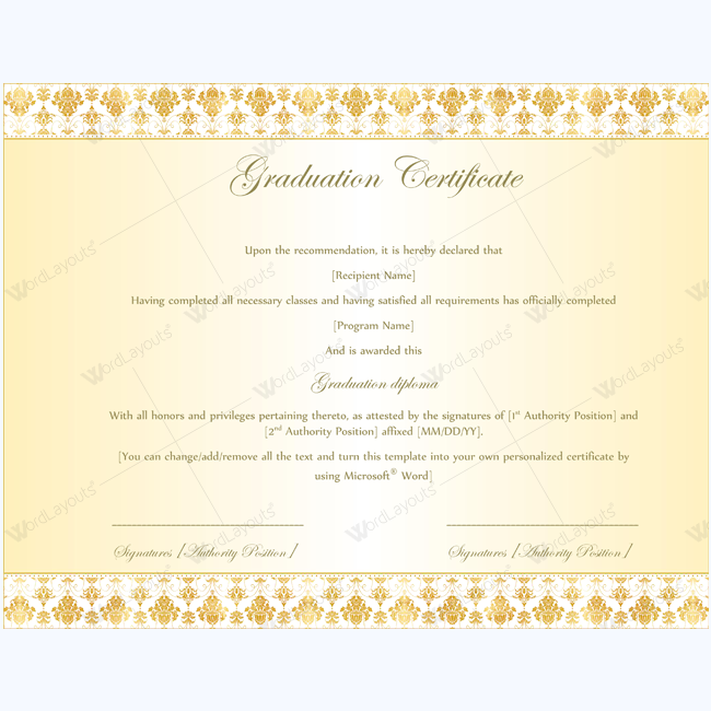 graduation certificate template word