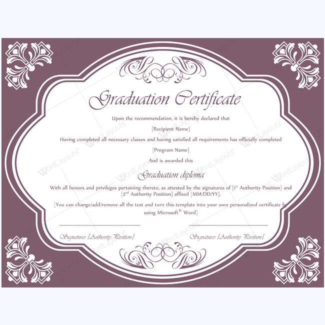 Graduation certificate 04 word layouts for Graduation gift certificate template free
