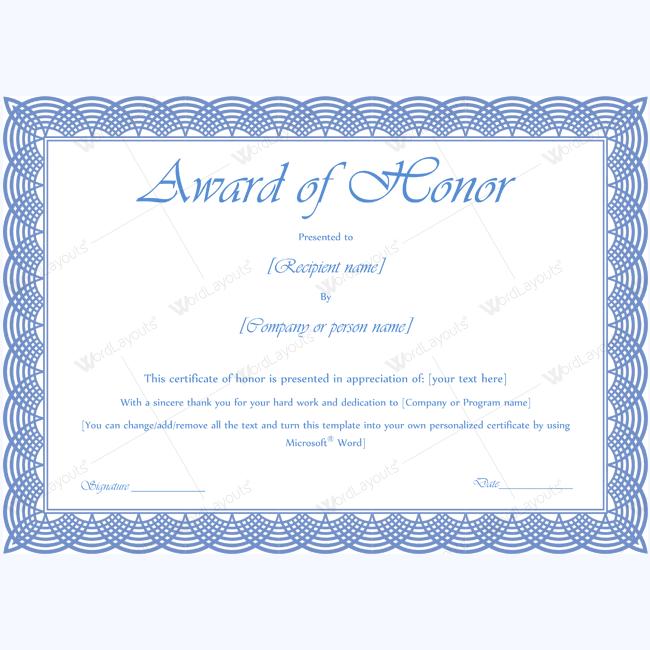 award of honor 10