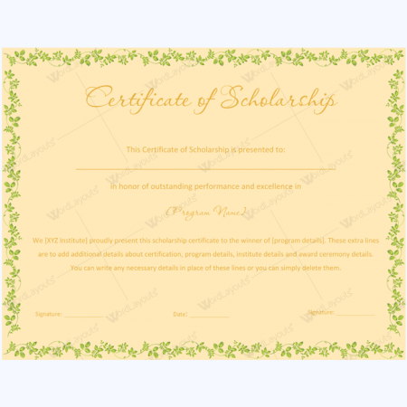 Certificate of scholarship 01 word layouts for Scholarship guidelines template