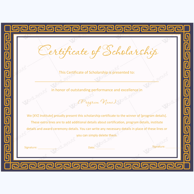 Certificate of Scholarship 05 - Word Layouts