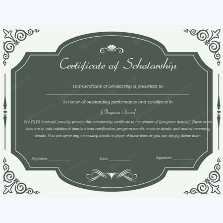 Student scholarship certificate