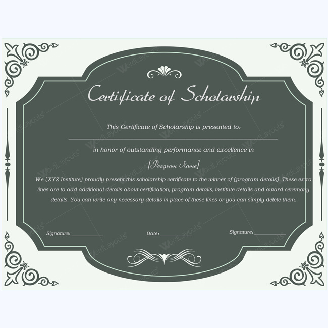 Student scholarship certificate
