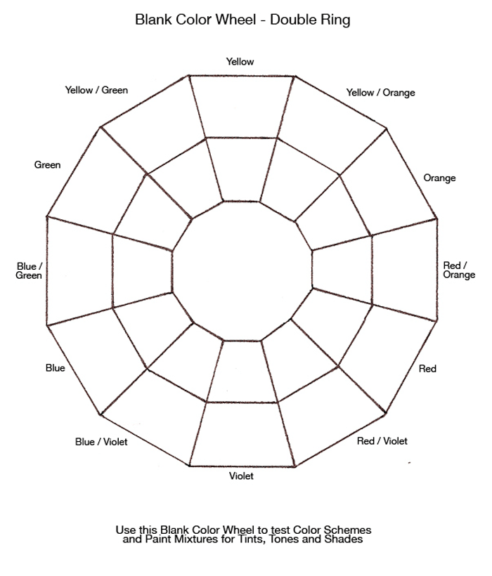 Color Wheel Chart For Mixing Paint Double Ring
