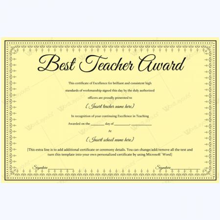 Best teacher award 03 word layouts for Teacher certificate template