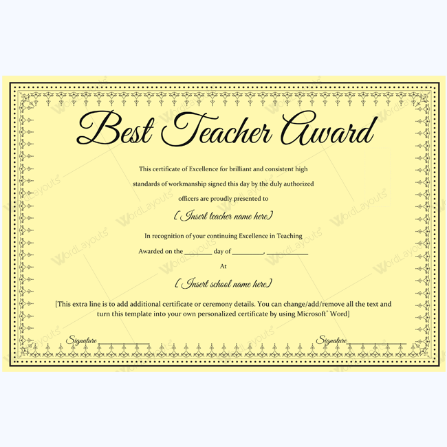 Best teacher award 06 word layouts for Certificate template word 2016