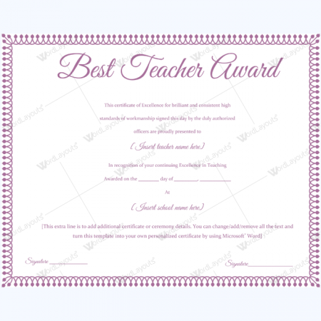 teacher of the month certificate template - best teacher award 10 word layouts