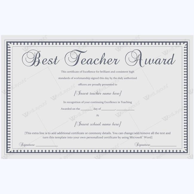 Best Teacher Award 04 Word Layouts