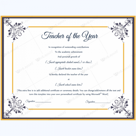 Teacher of the year award certificate templates for Teacher certificate template