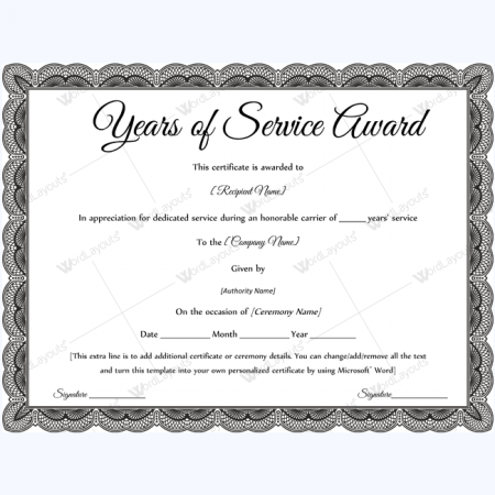 Years of service award certificate templates word layouts for Recognition of service certificate template