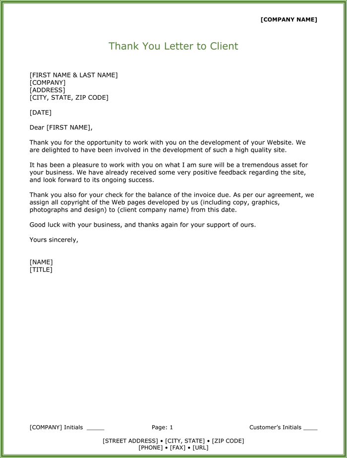 Thank You Letter To Clients For Their Business from www.wordlayouts.com