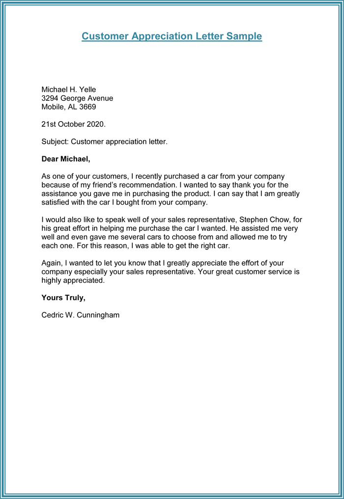 Write customer appreciation letter sample