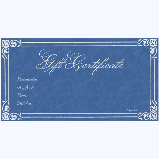 blue gift certificate