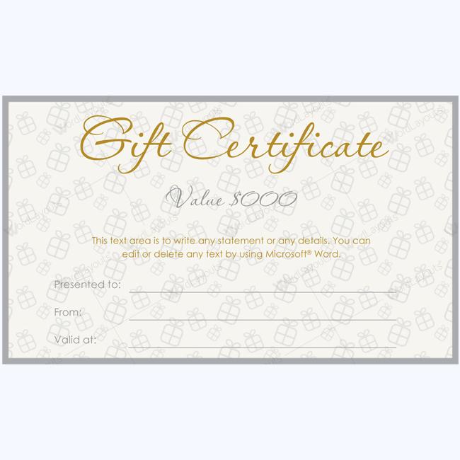 grey gift certificate