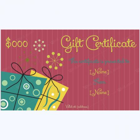 yellow gift certificate