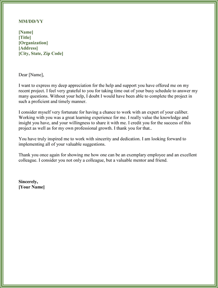 Thank You For Your Support Letter To Colleagues